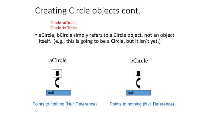 Creating Circle objects cont.