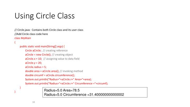 Using Circle Class