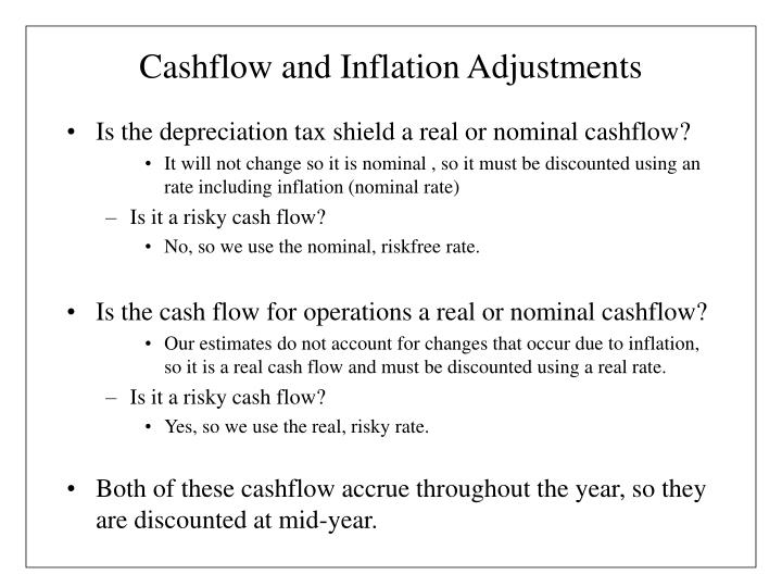 Cashflow and Inflation Adjustments
