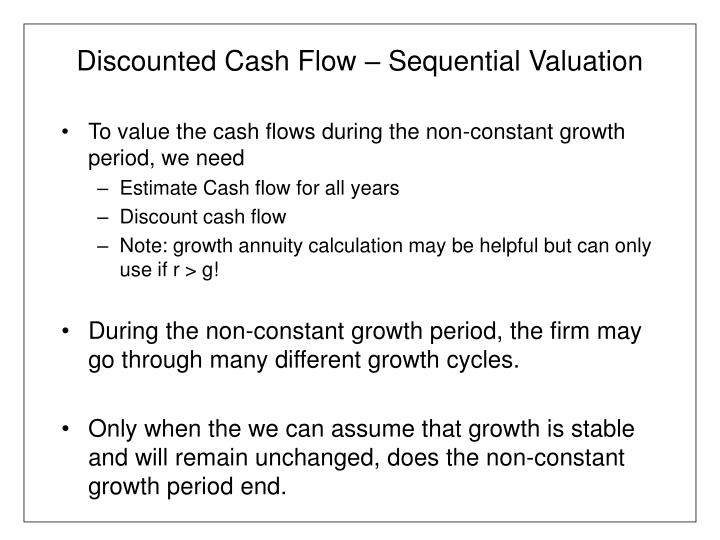 Discounted cash flow sequential valuation1