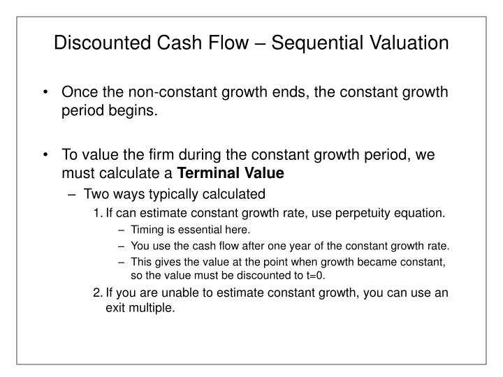 Discounted cash flow sequential valuation2