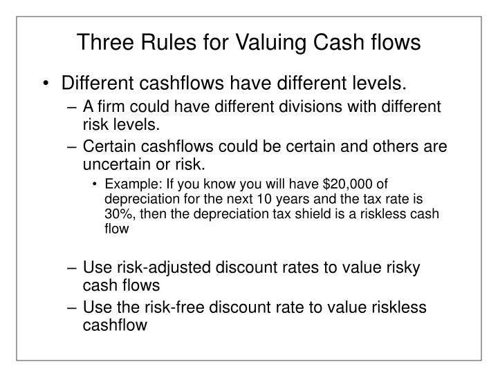 Three Rules for Valuing Cash flows