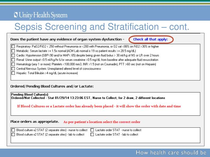 Sepsis Screening and Stratification – cont.