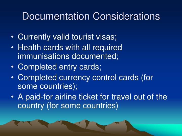 Documentation Considerations