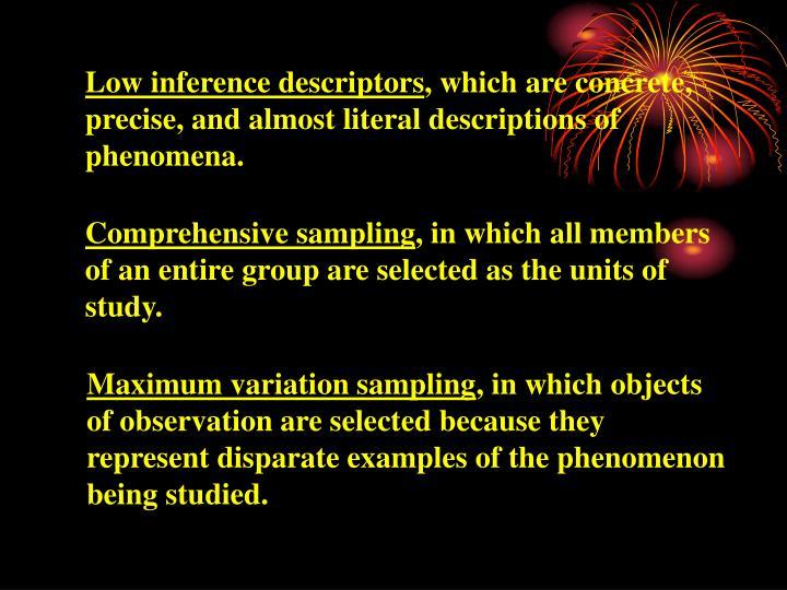 Low inference descriptors