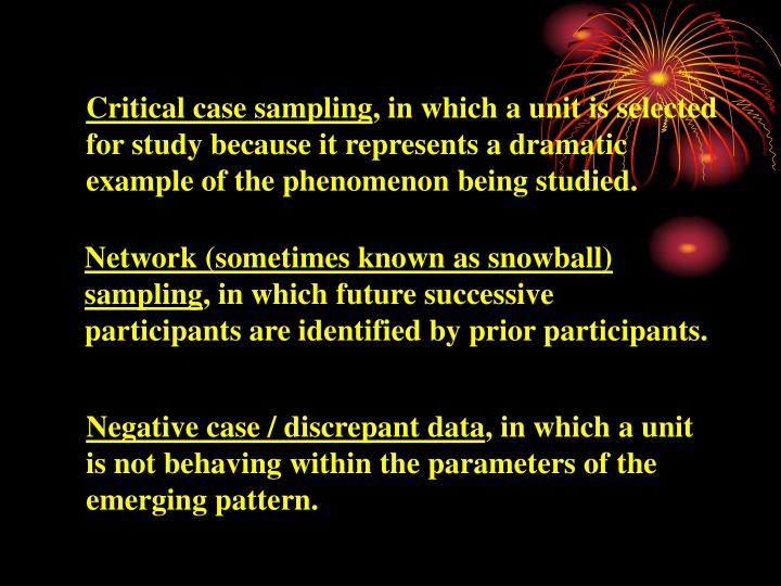 Critical case sampling