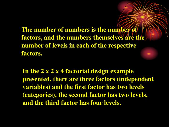 The number of numbers is the number of factors, and the numbers themselves are the number of levels in each of the respective factors.
