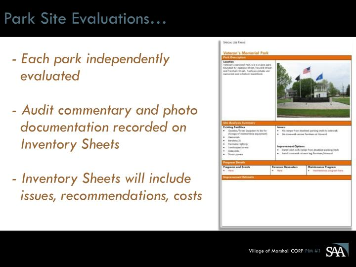 Park Site Evaluations…