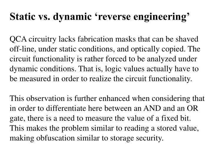 Static vs. dynamic 'reverse engineering'