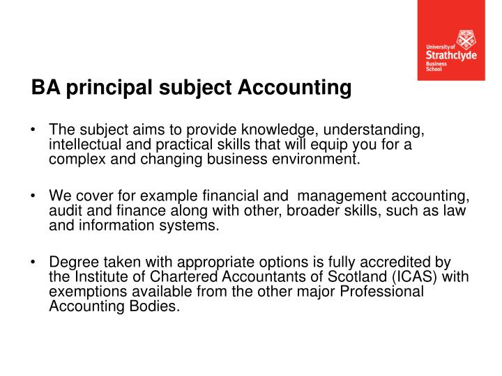 BA principal subject Accounting