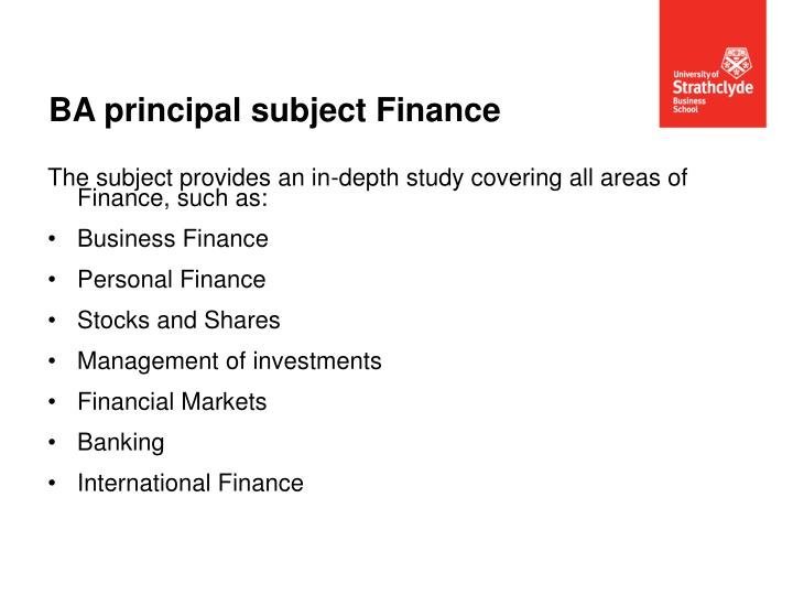BA principal subject Finance