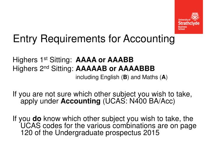 Entry Requirements for Accounting