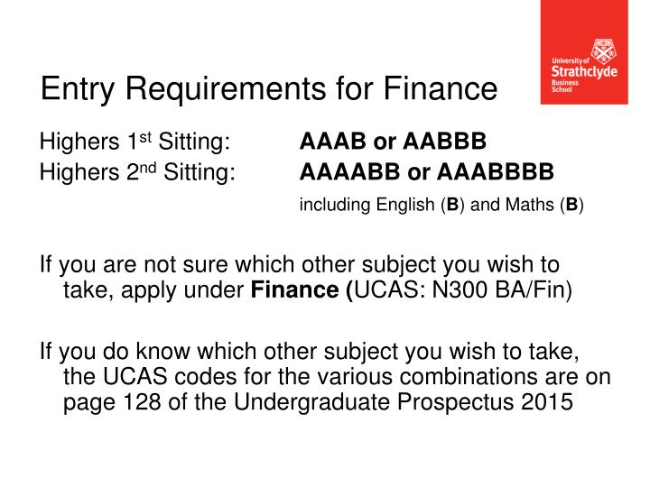 Entry Requirements for Finance