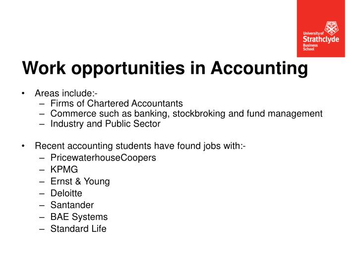 Work opportunities in Accounting