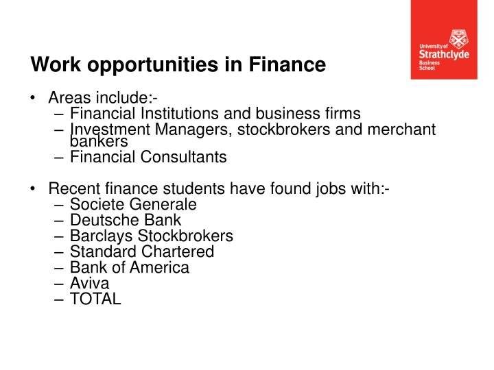 Work opportunities in Finance