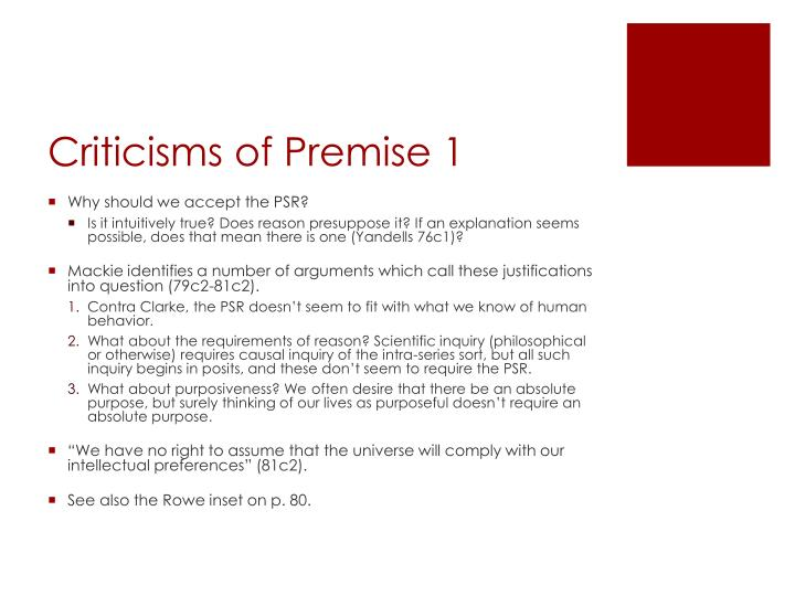 Criticisms of Premise 1