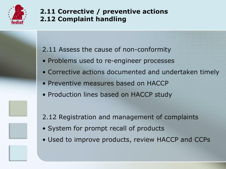 2.11 Corrective / preventive actions