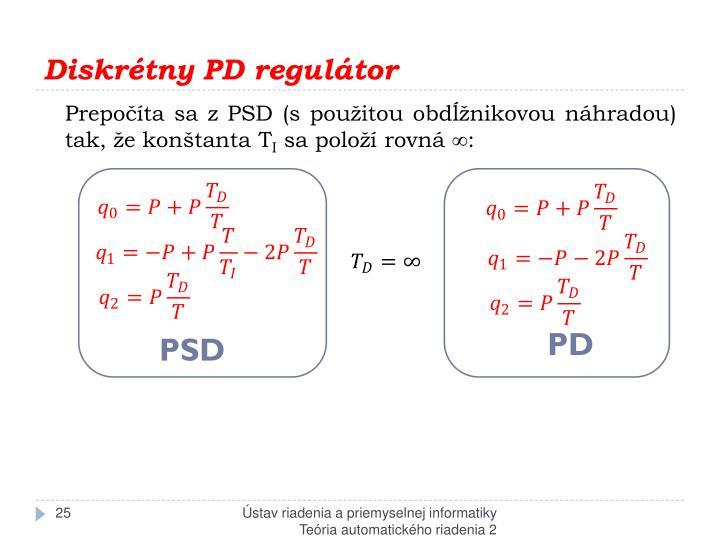 Diskrétny PD regulátor