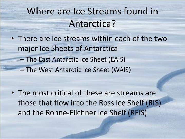 Where are Ice Streams found in Antarctica?