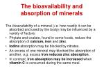 the bioavailability and absorption of minerals