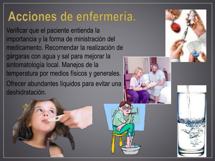 Acciones de enfermería.