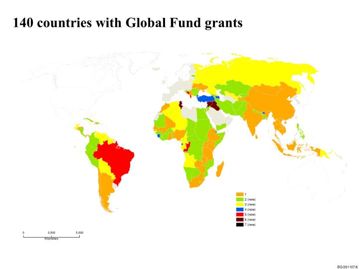 140 countries with Global Fund grants