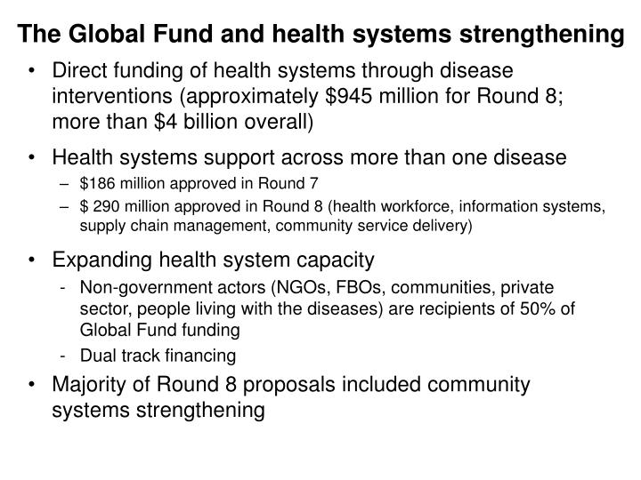 The Global Fund and health systems strengthening