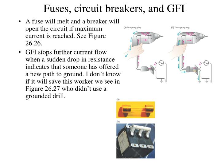 Fuses, circuit breakers, and GFI