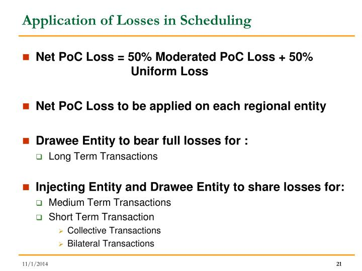 Application of Losses in Scheduling