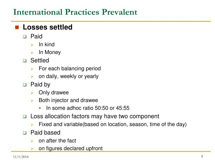 International Practices Prevalent