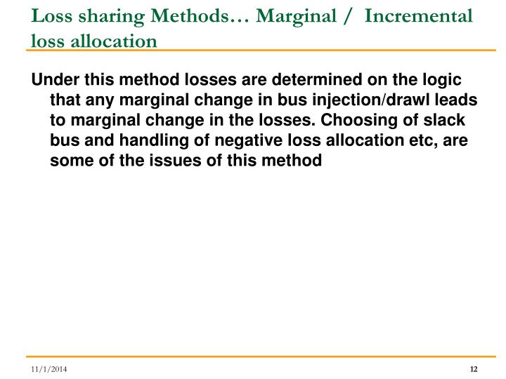 Loss sharing Methods… Marginal /  Incremental loss allocation