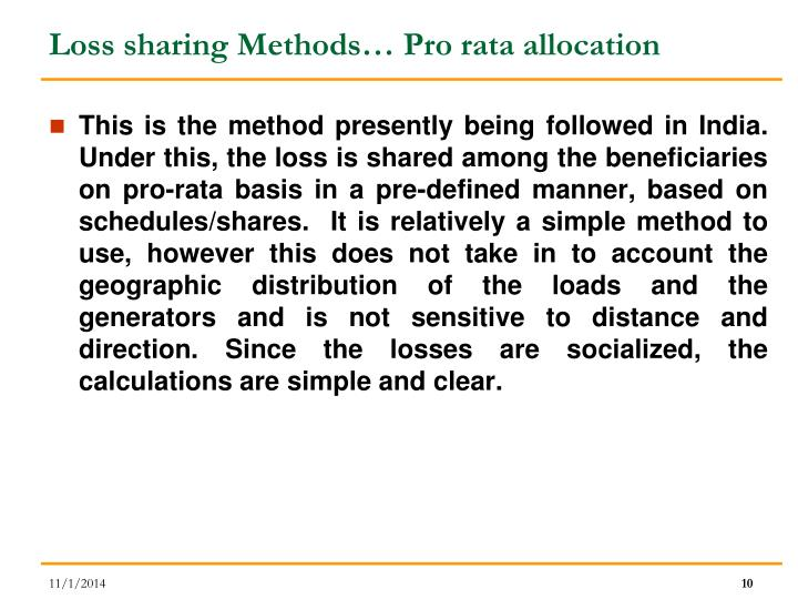 Loss sharing Methods… Pro rata allocation