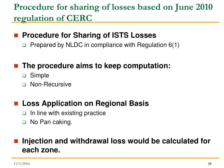 Procedure for sharing of losses based on June 2010 regulation of CERC