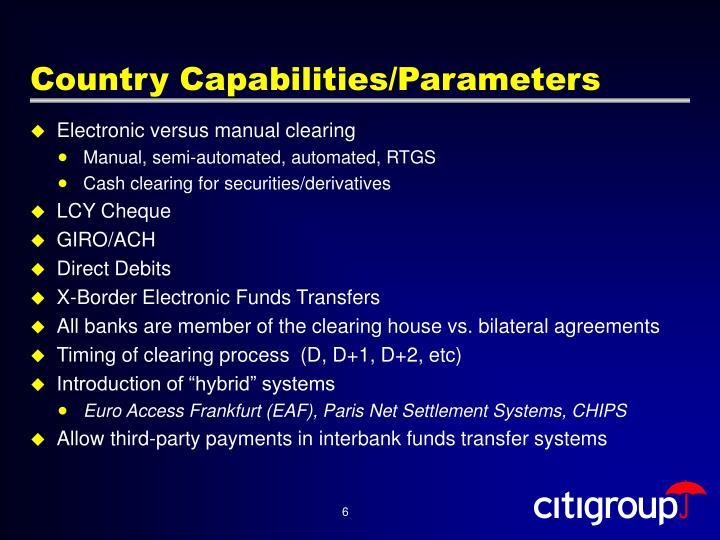 Country Capabilities/Parameters