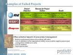 e xamples of failed projects