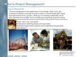w hat is project management