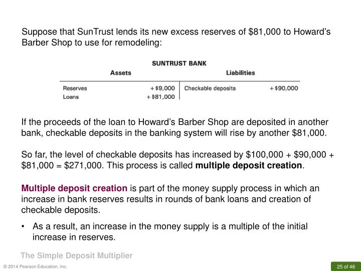 Suppose that SunTrust lends its new excess reserves of $81,000 to Howard