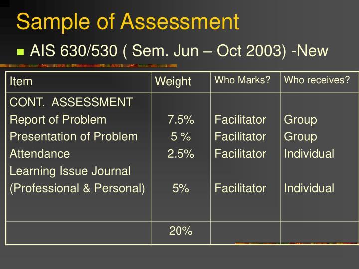 Sample of Assessment
