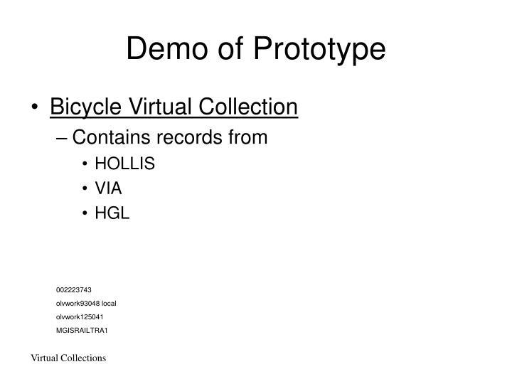 Demo of Prototype