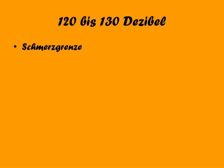120 bis 130 Dezibel