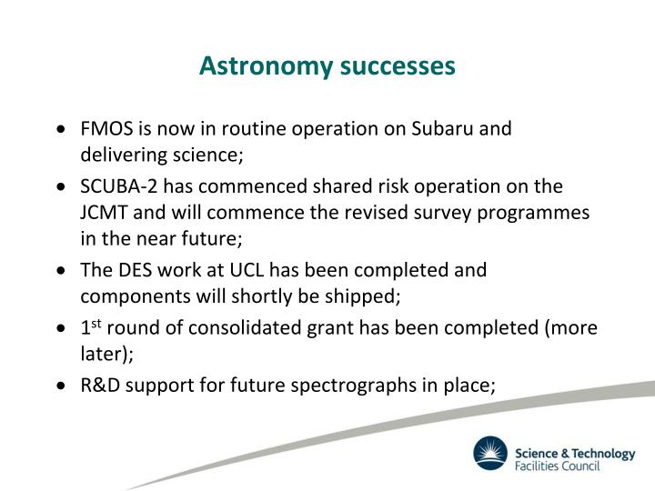 Astronomy successes
