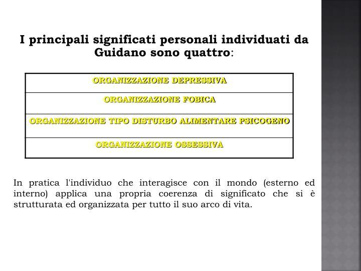 I principali significati personali individuati da Guidano sono quattro