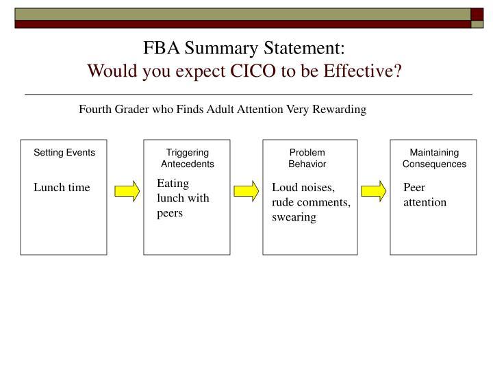 FBA Summary Statement: