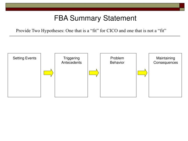 FBA Summary Statement