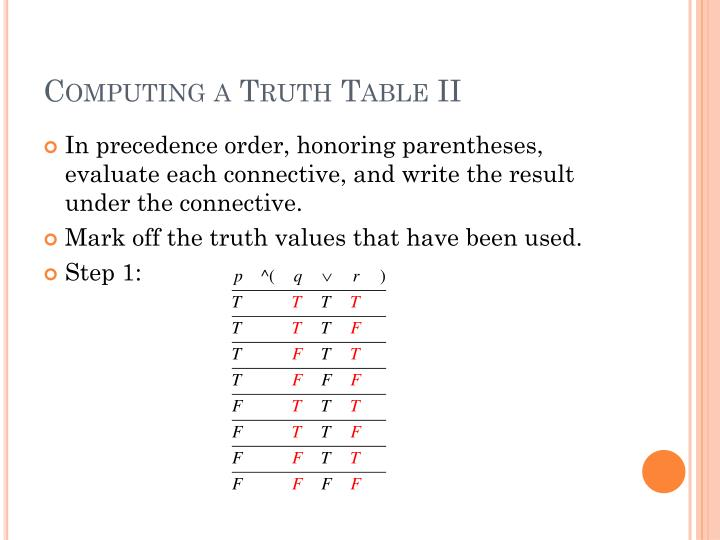 Computing a Truth Table II