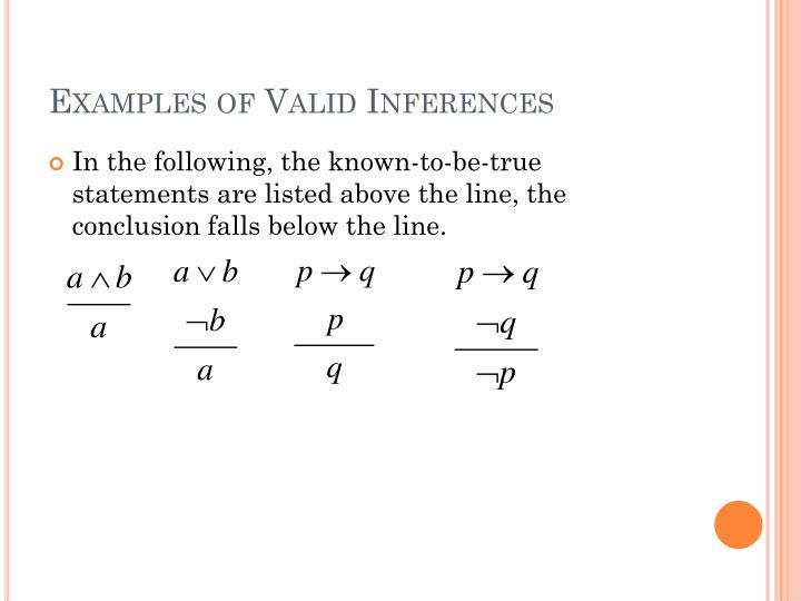 Examples of Valid Inferences