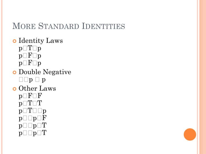More Standard Identities