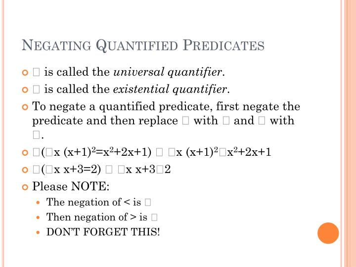 Negating Quantified Predicates
