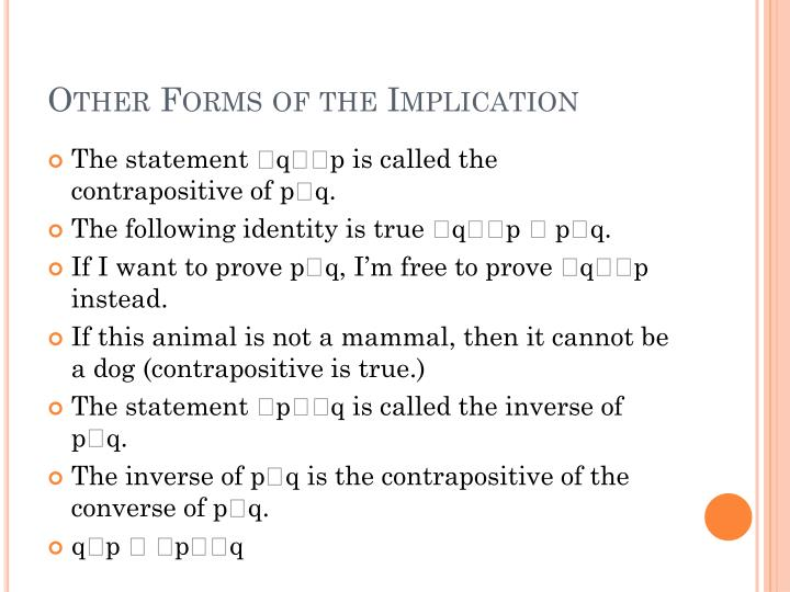 Other Forms of the Implication