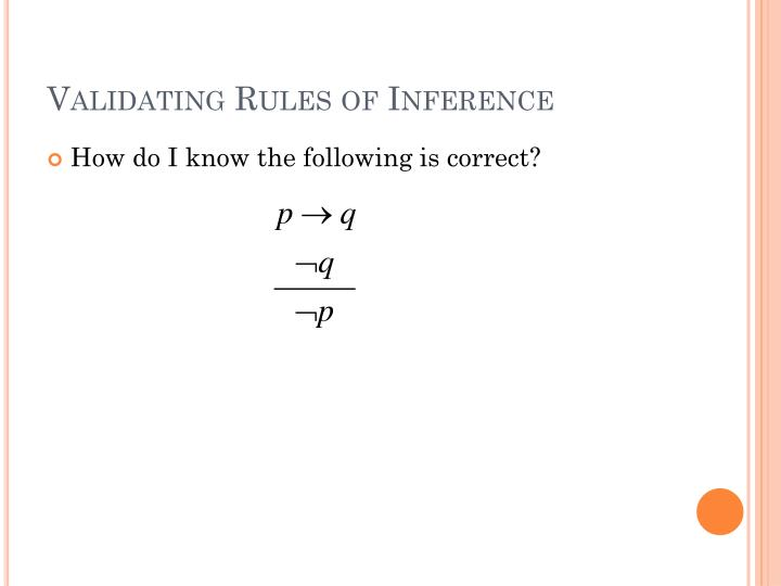Validating Rules of Inference
